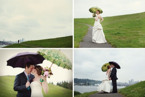 rainy weddings with umbrellas